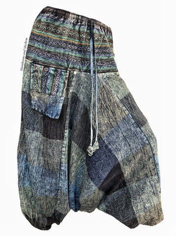 STONEWASHED COTTON 'WANDERLUST' HAREM PANTS / TROUSERS | SIZE M - MoonbeamsandMayhem