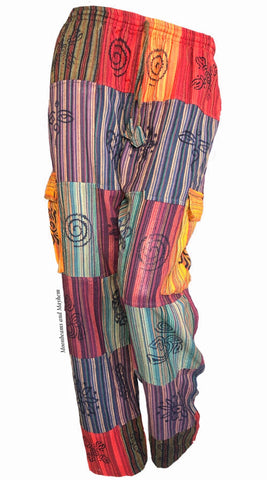 Patchwork hippie style trousers plus size