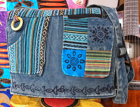 FABULOUS BLUE HIPPIE CANVAS 'MANTRA' SHOULDER BAG / SATCHEL