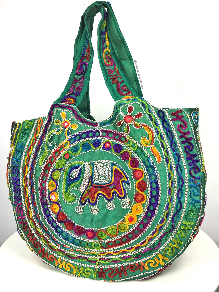 ENCHANTING GREEN 'SHAMBALA' BOHEMIAN  SHOULDER BAG - MoonbeamsandMayhem