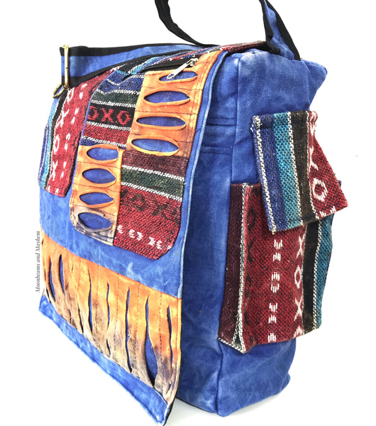 DREAMY OVERSIZED 'UTOPIA' HIPPIE CANVAS SHOULDER BAG / SATCHEL - MoonbeamsandMayhem