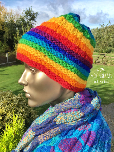 STRIKING HIPPIE RAINBOW WINTER BEANIE HAT - MoonbeamsandMayhem
