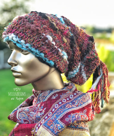 WONDERFUL GREY / BLACK 'MARLEY' DREAD FALL BEANIE / HAT - MoonbeamsandMayhem