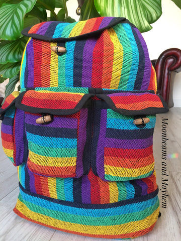 SUPERB VIBRANT RAINBOW BOHEMIAN / HIPPIE RUCKSACK BACKPACK - MoonbeamsandMayhem