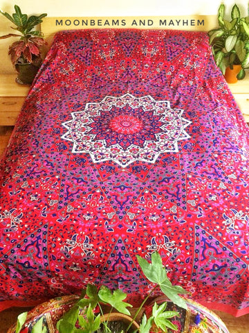 DIVINE NEW PINK MANDALA STAR DOUBLE THROW WALL HANGING TAPESTRY - MoonbeamsandMayhem