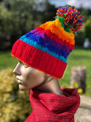 FABULOUSLY QUIRKY RAINBOW POM POM BEANIE / HAT - MoonbeamsandMayhem