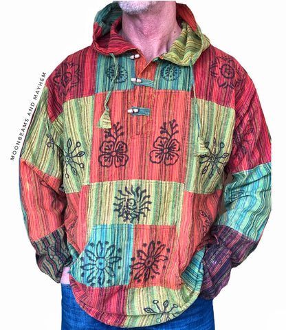 MENS HOODED HIPPIE PATCHWORK SHIRT XL - MoonbeamsandMayhem