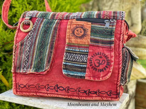 DELICIOUS RED HIPPIE CANVAS 'MANTRA' SHOULDER BAG / SATCHEL - MoonbeamsandMayhem