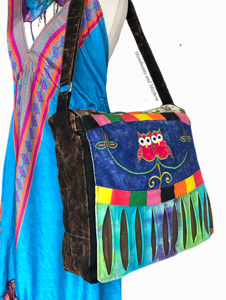 ENCHANTING OVERSIZED OWL CANVAS SHOULDER BAG / SATCHEL - MoonbeamsandMayhem