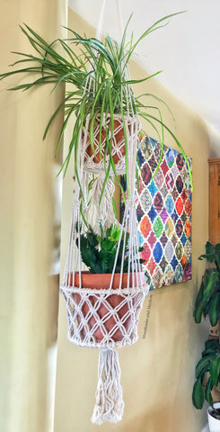 WONDERFUL BOHEMIAN DOUBLE MACRAME PLANT HANGER