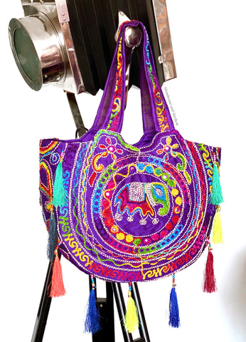 DIVINE PURPLE 'SHAMBALA' TASSELED TOTE / BAG - MoonbeamsandMayhem