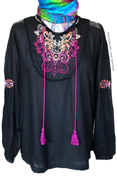 MIDNIGHT BLACK FLORENCE BLOUSE - MoonbeamsandMayhem