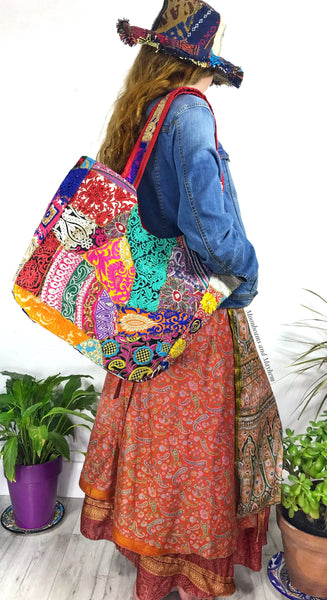 WILD SPIRIT EMBROIDERED SHOULDER BAG / TOTE - MoonbeamsandMayhem