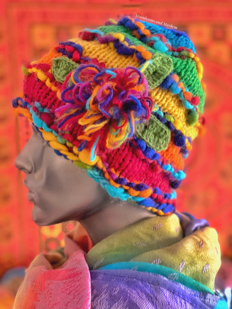 RAINBOW FLOWER BURST WINTER BEANIE HAT