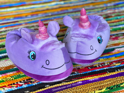 ENCHANTING PURPLE UNICORN SLIPPERS - MoonbeamsandMayhem