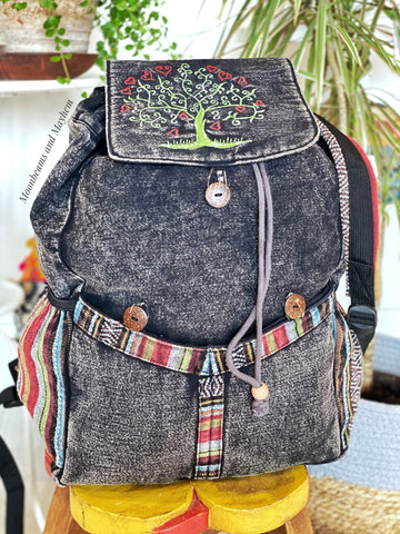 SUPERB LARGE COTTON TREE OF LIFE BACKPACK / STONEWASHED BLACK