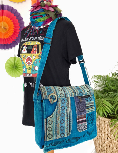 ENCHANTING TURQUOISE HIPPIE CANVAS 'MANTRA' SHOULDER BAG / SATCHEL