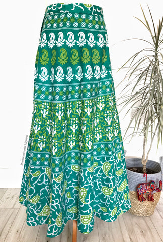 GREEN INDIAN MEADOW- COTTON WRAP SKIRT UK 10 / 12 / 14