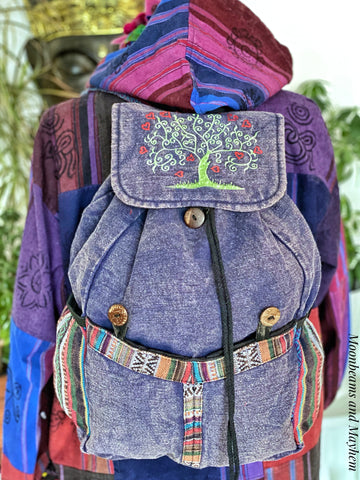 SUPERB LARGE COTTON TREE OF LIFE BACKPACK / STONEWASHED DENIM BLUE