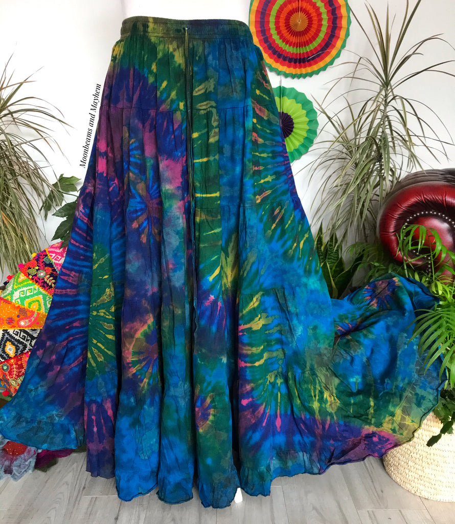FULL LENGTH BLUE WILD CHILD TIE DYE SKIRT - CURVY / PLUS SIZE