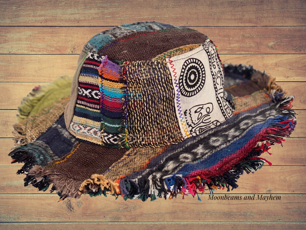PATCHWORK HIPPIE HEMP HAT SIZE S / M ( 106 )