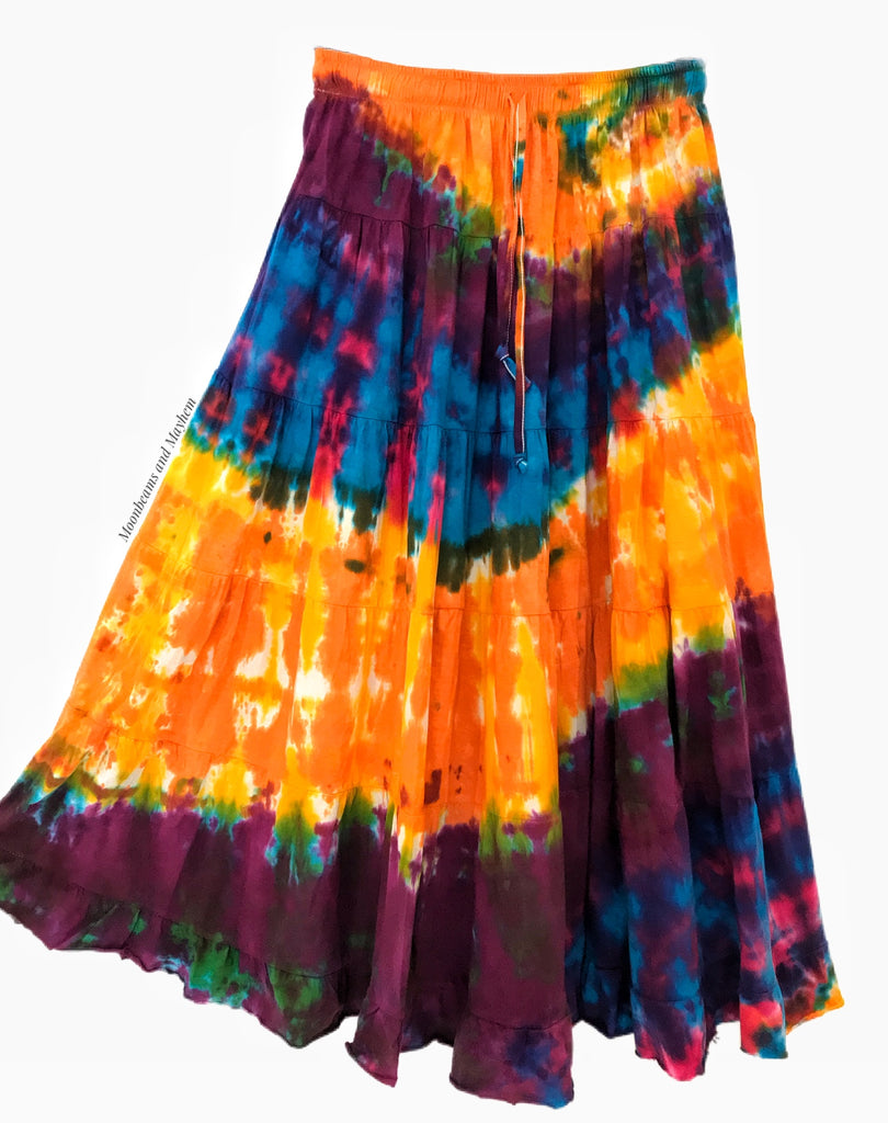 WONDERFUL SUNBURST TIE DYE LONG SKIRT 084 ( MEDIUM )
