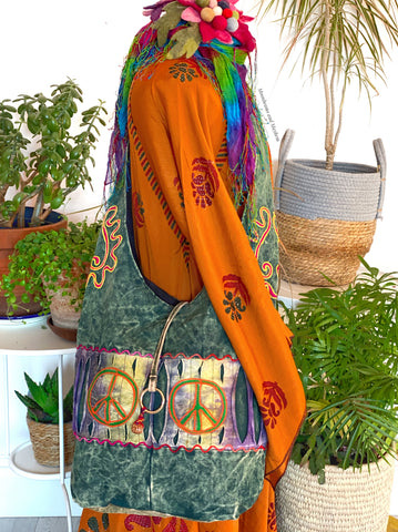 FOREST GREEN HIPPIE PEACE TOTE / BAG