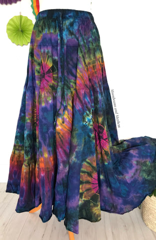 ENCHANTING PURPLE TIE DYE LONG SKIRT - Reg / Plus