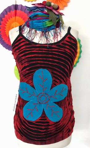 BLACK COTTON FLOWER BURST VEST