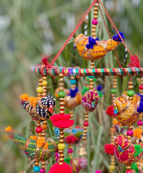 ENCHANTING BIRDS, POM POMS, BEADS AND BELLS CHIMES
