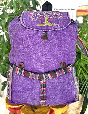 SUPERB LARGE COTTON TREE OF LIFE BACKPACK / STONEWASHED PURPLE