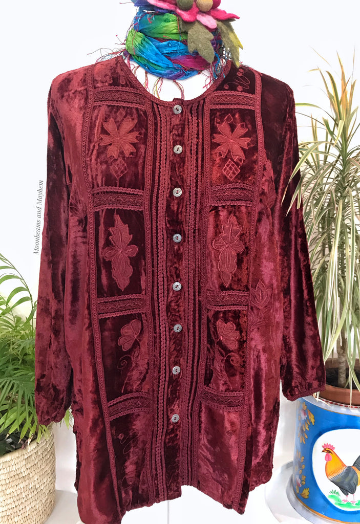 DELICIOUS DEEP RED VELVET BLOUSE - XL