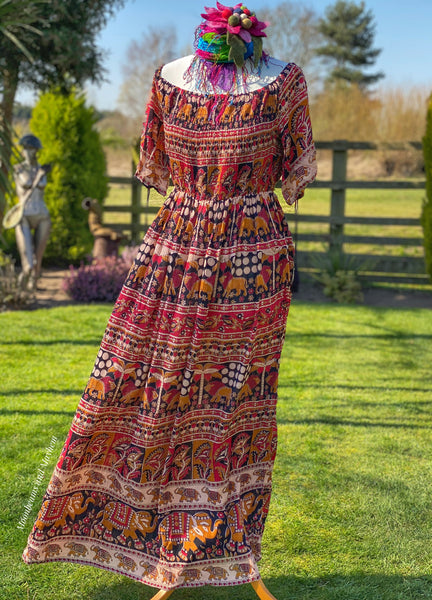 BEAUTIFUL LONG BOHEMIAN 'SIENNA' MAXI SUN DRESS UK SIZE S - XL - MoonbeamsandMayhem