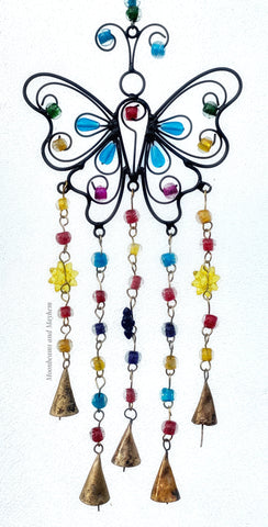 RECYCLED IRON, BUTTERFLY, BELLS AND BEADS WINDCHIME
