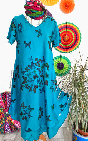 STYLISH TURQUOISE COTTON BUTTERFLY DRESS UK SIZE 12 / 14
