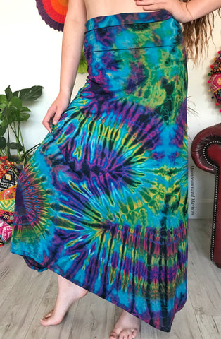 DELICIOUS TURQUOISE LONG TIE DYE SKIRT