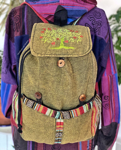 SUPERB LARGE COTTON TREE OF LIFE BACKPACK / FOREST GREEN