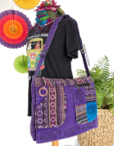 ENCHANTING PURPLE HIPPIE CANVAS 'MANTRA' SHOULDER BAG / SATCHEL