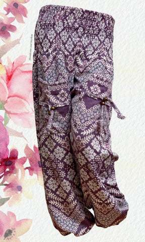 WARM DUSKY PURPLE XL RUST HAREM PANTS