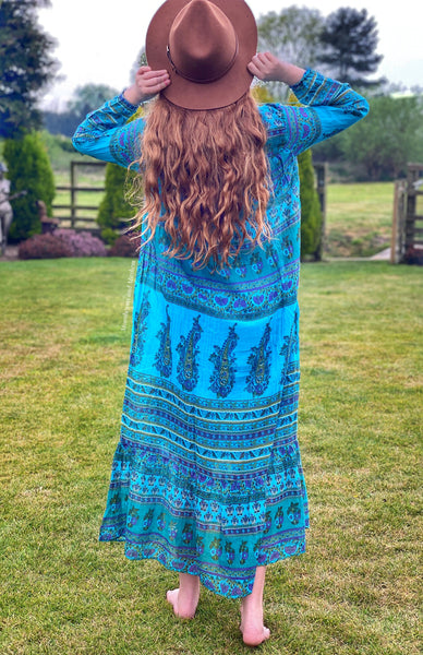 BEAUTIFUL TURQUOISE 'KAMALA' BOHEMIAN MAXI DRESS S - XXL - MoonbeamsandMayhem