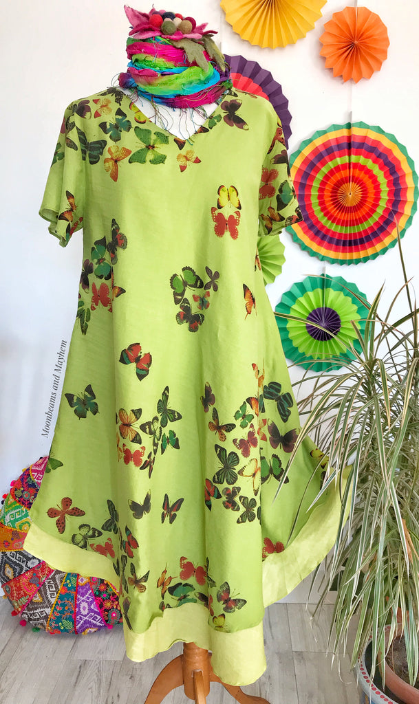STYLISH GREEN COTTON BUTTERFLY DRESS UK SIZE 12 / 14