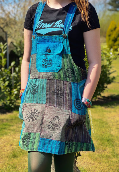 CAMDEN PATCHWORK PINAFORE MINI DRESS