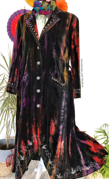 EXQUISITE FULL LENGTH 'STEVIE' VELVET COAT / PLUS TALL SIZE