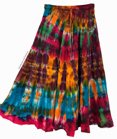WONDERFUL SUNBURST TIE DYE LONG SKIRT 082 ( MEDIUM )