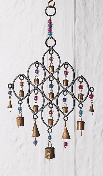 RECYCLED IRON, BELLS AND BEADS WINDCHIME