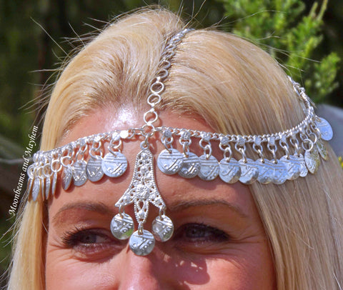 BEAUTIFUL BOHEMIAN INDIAN COIN HEADDRESS / CROWN - MoonbeamsandMayhem