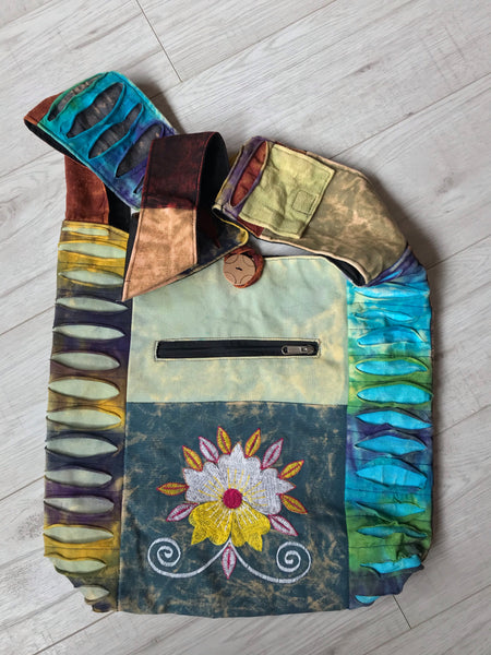 BEAUTIFUL COTTON BLOOM SHOULDER BAG / PURSE