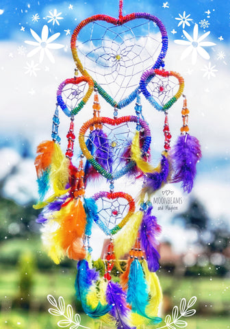STUNNING 'STARGAZER' BOHEMIAN HEART DREAM CATCHER