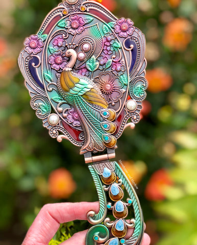 PEACOCK DESIGN DRESSING TABLE HAND HELD MIRROR - MoonbeamsandMayhem