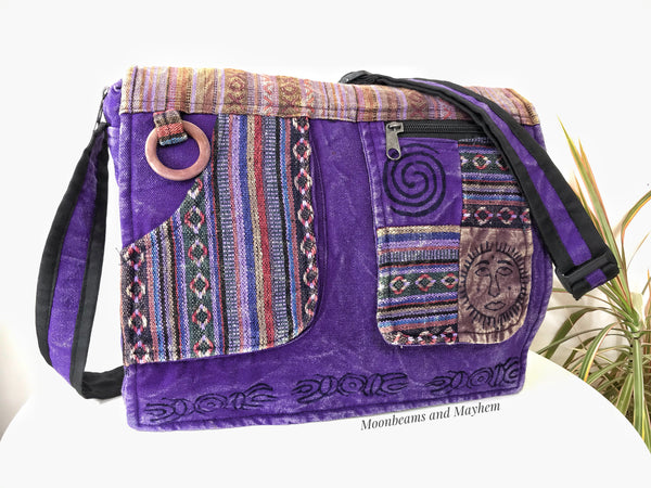 FABULOUS PURPLE HIPPIE CANVAS 'MANTRA' SHOULDER BAG / SATCHEL - MoonbeamsandMayhem